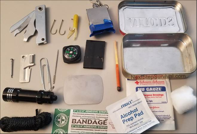 Inside the Altoids survival kit