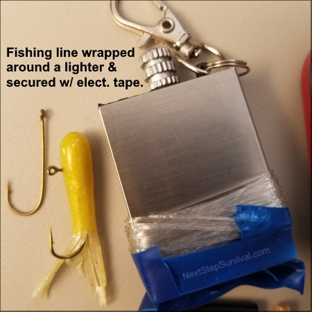 Fishing line wrapped around a lighter