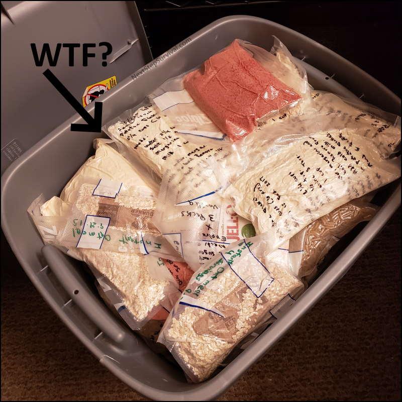 Storage bin of long-term emergency food storage