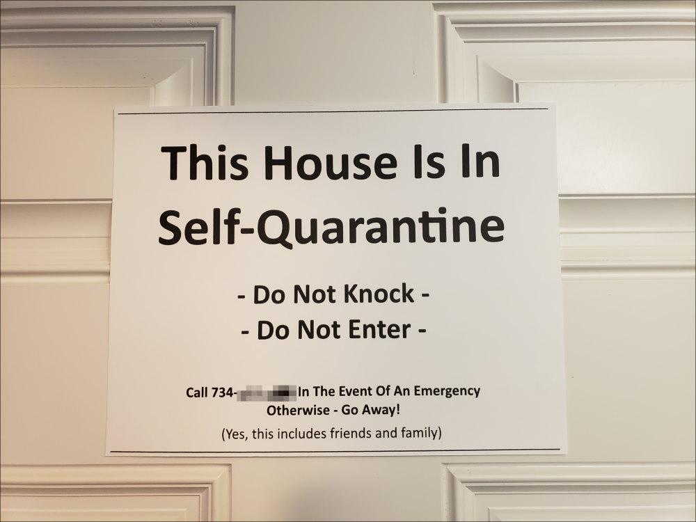 Self-Quarantine Door Sign