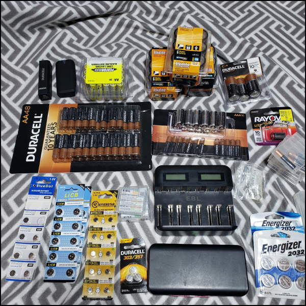 Batteries and Battery Charger when building a blackout kit.