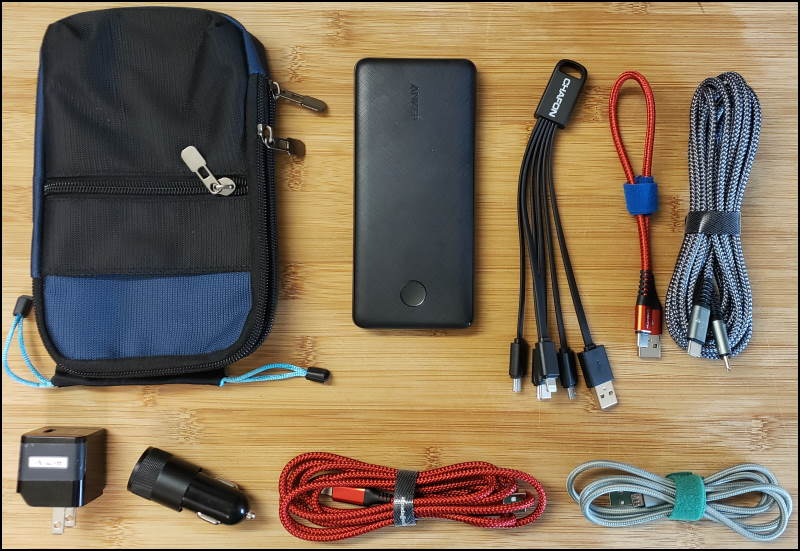 My EDC Bag portable USB charging kit
