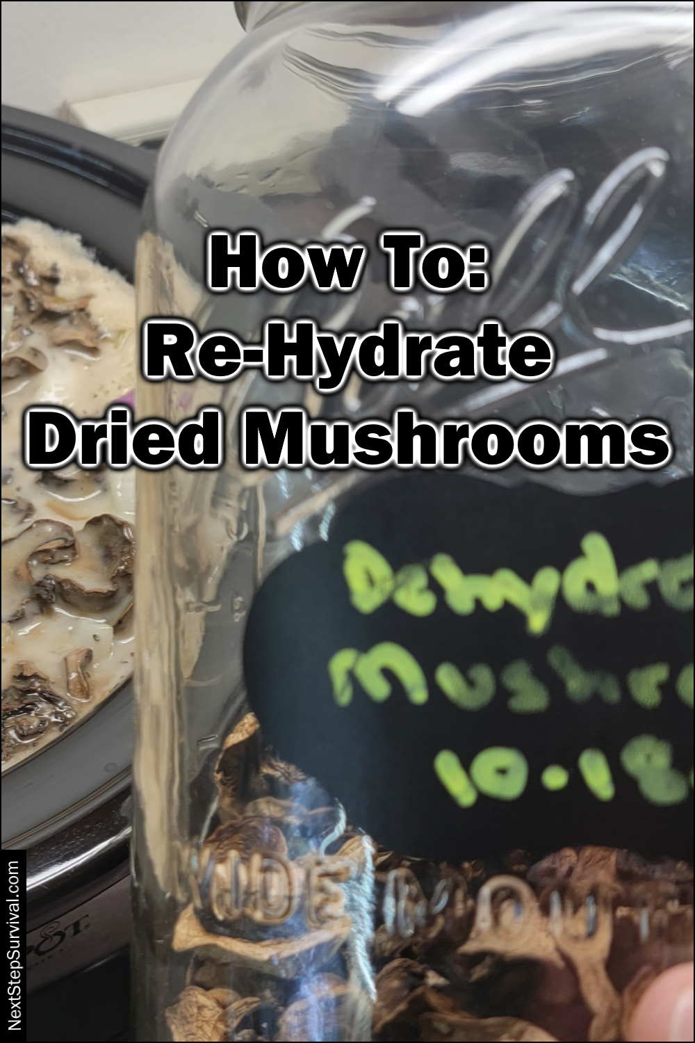 Pinterest Image - How To Re-Hydrate Dried Mushrooms